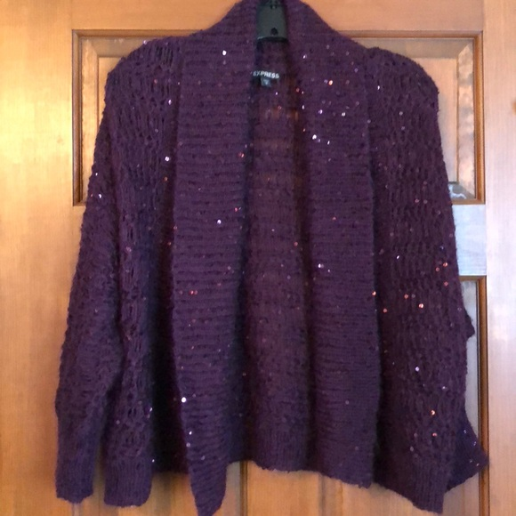 Express Sweaters - Express plum sequined cardigan sweater